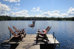 Jumping from the dock at Delta Lodge.
