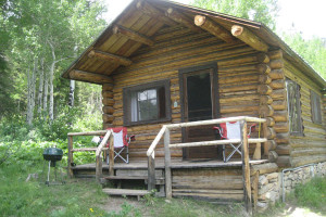 Cabin exterior at Trail Creek Ranch.