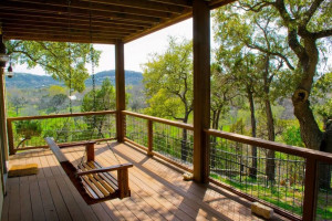 Rental porch at Hill Country Premier Lodging.