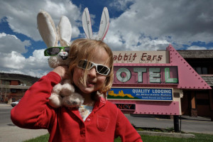 Kid at Rabbit Ears Motel.