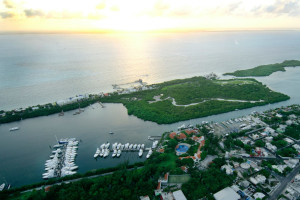 Aerial view of Puerto Isla Mujeres Resort & Yacht Club.