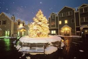 Resort courtyard at Jiminy Peak Mountain.