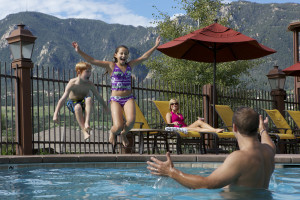 The resort pool at Cheyenne Mountain Resort is open year-round and heated.