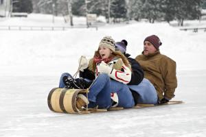 Enjoy fun family sledding at Lake Placid Vacation Homes.