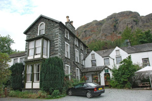 Exterior view of Old Dungeon Ghyll Hotel.