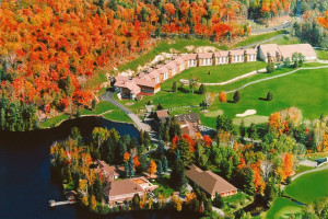 Aerial view of Hotel du Lac Carling Resort.