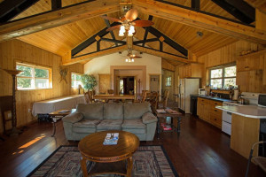 Guest living room and kitchen at DiamondStone Guest Lodges.