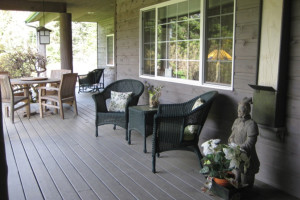Lodge front porch at Lost Mountain Lodge.