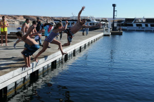 Jumping into the lake at Antelope Point.