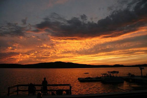 Sunset on the lake at Bald Mountain Camps Resort.