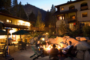 Outdoor patio and camp pit at Olympic Village Inn.
