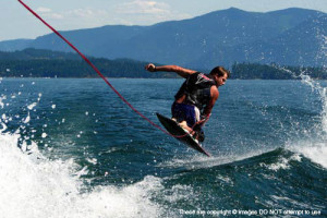 Knee boarding at The Lodge at Sandpoint.