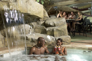 Relaxing in the hot tub at Kalahari Waterpark Resort Convention Center.