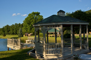Gazebo next to fishing pond at Creekside Resort.