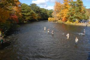 Fishing on river at S & J Lodge.