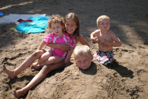 Children on the beach at Bay View Lodge.
