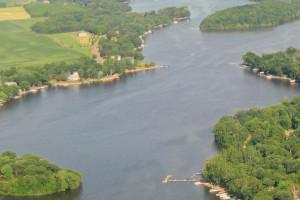 Aerial view of Riverside Resort.
