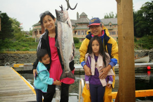 Family fishing at Painter's Lodge.