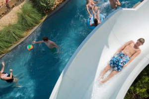 Lazy river and slide at Hyatt Regency Lost Pines Resort and Spa.