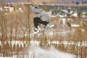 Snowboarding at Big Powderhorn Mountain Resort.