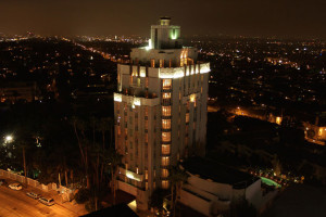 Exterior view of Sunset Tower Hotel.