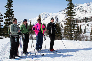Family skiing at Majestic Valley Lodge.