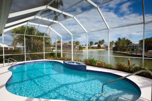 Vacation rental pool at Horizons Rentals.