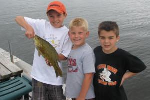 Kids fishing at Birchwood Resort.