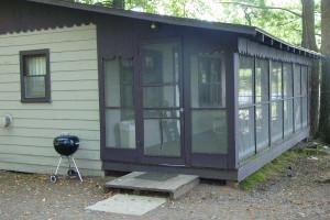 Cabin exterior at Birchwood Beach Resort.