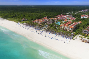 Aerial view of Sandos Playacar Beach Resort.