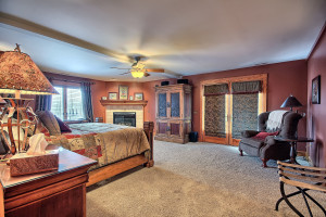 Vacation rental bedroom at Hocking Hills Luxury Lodging.