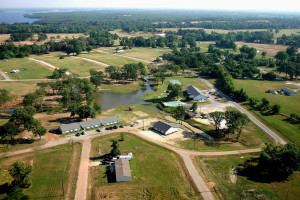 Aerial view of Holiday Villages Clubhouse.