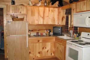 Cabin kitchen at Copperhead Lodge.