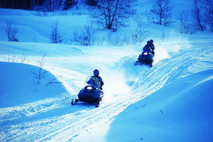 Snowmobiling at Fairmont Le Chateau Montebello.