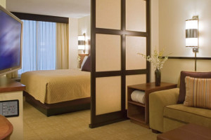 A King guestroom at the Hyatt Place Pittsburgh Cranberry.
