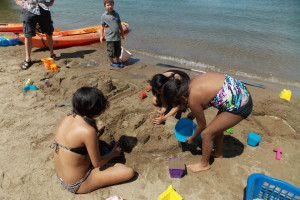 Playing in the sand at Good Ol' Days Resort.