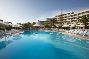 Outdoor pool at Grecotel Agapi Beach.