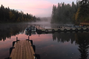 Docks at Wekusko Falls Lodge.