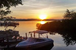 Lake sunset at Westward Shores Camping Resort.