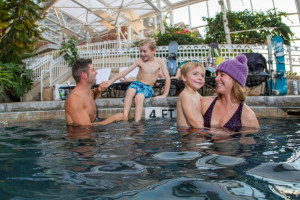 Family swimming at Crystal Springs Resort.
