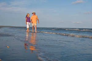 Taking a walk on the beach at the Lodge on Little St. Simons Island.