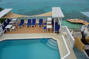 Outdoor pool at Moxons Beach Club.