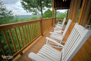 Cabin balcony at Aunt Bug's Cabin Rentals, LLC.