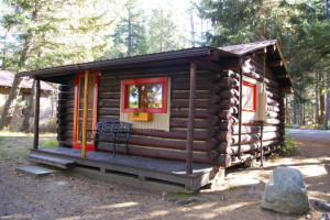 Cabin exterior at Lake Five Resort.