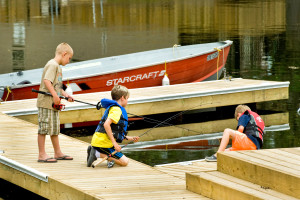 Kids on dock at Shamrock Bay Resort.