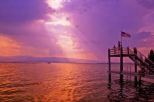 Sunset at Averill's Flathead Lake Lodge.