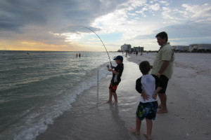 Fishing on the beach at Guy Harvey Outpost.