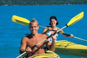 Kayaking at White Birch Lodge.