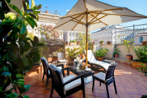 Patio at Hotel Barocco.