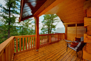 Cabin deck at The Wilderness Way Adventure Resort.